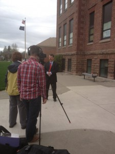 Mr. Gallagher explains the schools' geothermal heating system to PBS